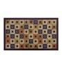 Status Brown Nylon 55 x 22 Inch Striped & Checkered Area Rug