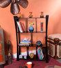 La Stella Espresso Walnut Wooden Weblock 4 Tier Wall Shelf