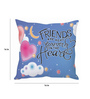 Stybuzz Blue Silk 16 x 16 Inch Friends are Kept Forever in Heart Cushion Cover