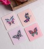 Stybuzz Butterfly Art Multicolour Acrylic Square Coasters - Set Of 4