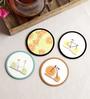 Stybuzz Citrus Art Multicolour MDF Round Coasters - Set Of 4