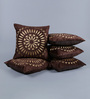 Stybuzz Coffee Brown Velvet 16 x 16 Inch Circle Pattern Embroidered Cushion Cover - Set of 5