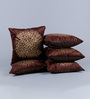 Stybuzz Coffee Brown Velvet 16 x 16 Inch Gold Print Cushion Cover - Set of 5