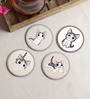 Stybuzz Cute Cat Multicolour MDF Round Coasters - Set Of 4
