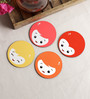 Stybuzz Doll Face Multicolour MDF Round Coasters - Set Of 4