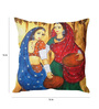 Stybuzz Multicolor Silk 16 x 16 Inch Traditional Indian Woman Cushion Cover