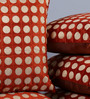 Stybuzz Orange Velvet 16 x 16 Inch Polka Dots Embroidered Cushion Cover - Set of 5