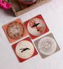 Stybuzz Travel Art Multicolour Acrylic Square Coasters - Set Of 4