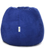 Suede Bean Bag Filled with Beans in Blue Colour by Can