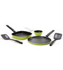 Sumeet Fusion Five Aluminum 5-piece Green and Black Non Stick Cookware Set
