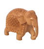 Suriti Beige Wooden Carved Elephant Statue Showpiece