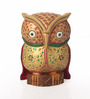 Suriti Red & Gold Wooden Painted Owl Showpiece