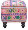 Kaksya Pouffe with Embroidered Fabric by Mudramark