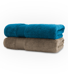 Swiss Republic Plaza Taupe & Blue Bath Towel - Set Of Two
