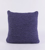 SWHF Blue Cotton 18 x 18 inch Hand-knitted Cushion Cover