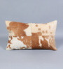 SWHF Tan & White Leather 12 x 20 Inch Cushion Cover