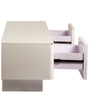 Entertainment Unit with Glass Shelf in White Colour by Parin