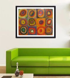 Tallenge Photographic Paper 24 X 1 X 18 Inch Modern Masters Collection Color Study Squares And Concentric Circle By Wassily Kandinsky Framed Digital Art Print