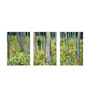 Tallenge Canvas 36 x 0.5 x 18 Inch Undergrowth with Two Figures by Vincent Van Gogh Premium Quality Ready to Hang Framed Art Panels - Set of 3