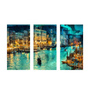 Tallenge Canvas 36 x 0.5 x 24 Inch A Beautiful View of Venice Premium Quality Ready to Hang Framed Art Panels - Set of 3