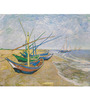 Tallenge Photographic Paper 18 x 24 Inch Old Masters Fishing Boats on The Beach by Vincent Van Gogh Framed Digital Art Print