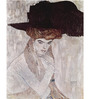 Tallenge Photographic Paper 18 x 24 Inch Old Masters Collection Woman In Black Feather Hat by Gustav Klimts Framed Digital Art Prints
