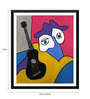 Tallenge Paper 12 x 0.5 x 17 Inch Musician & His Black Guitar Framed Digital Poster
