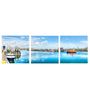 Tallenge Vinyl 36 x 0.5 x 12 Inch Harbour Panorama Premium Quality Ready to Hang Framed Art Panels - Set of 3