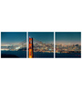 Tallenge Vinyl 36 x 0.5 x 12 Inch San Francisco Panorama Premium Quality Ready to Hang Framed Art Panels - Set of 3