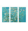 Tallenge Vinyl 36 x 0.5 x 24 Inch Almond Blossoms by Vincent Van Gogh Premium Quality Ready to Hang Framed Art Panels - Set of 3