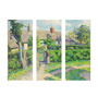 Tallenge Vinyl 36 x 0.5 x 24 Inch Peasants Houses by Camille Pissarro Premium Quality Ready to Hang Framed Art Panels - Set of 3