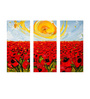 Tallenge Vinyl 36 x 0.5 x 24 Inch Warm Sunshine on A Field of Flowers Premium Quality Ready to Hang Framed Art Panels - Set of 3