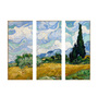 Tallenge Vinyl 36 x 0.5 x 24 Inch Wheat Field with Cypresses by Vincent Van Gogh Premium Quality Ready to Hang Framed Art Panels - Set of 3