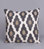 Tasar Black & White Silk 16 x 16 Inch Casablanca Cushion Cover