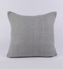 Tasar Grey Pure Silk 16 x 16 Inch Coconut Buttoned Cushion Cover
