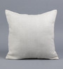 Tasar White Pure Silk 16 x 16 Inch Coconut Buttoned Cushion Cover