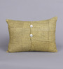 Tasar Yellow & Black Silk 12 x 16 Inch Floral Cushion Cover