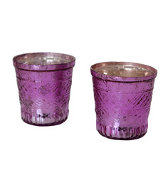 Tezerac Purple Glass Votive Tea Light Holder - Set Of 2