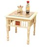 Teak Wood Living Room Chair Set With Table In Creamish White Finish by ExclusiveLane