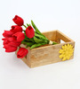 Tezerac Wooden Natural Flower Serving Tray