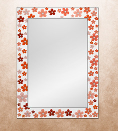 The Attic Orange MDF Naples Flower Framed Mirror