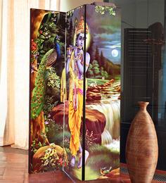 The Attic Multicolor MDF Shri Krishna 3-Panel Partition Screen