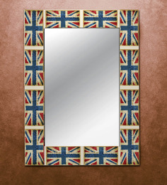 The Attic Blue & Red MDF Union Jack Framed Mirror