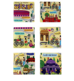 The Elephant Company Acrylic Coaster Delhi Maps - Set Of 6