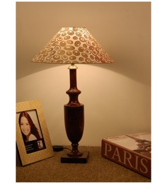 The Lamp Store Beige Gold Poly Cotton Classic Table Lamp