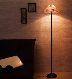 The Light House Gold Circle Shade Black Metal Floor Lamp
