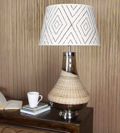The Light Store Brown And White Cotton Table Lamp