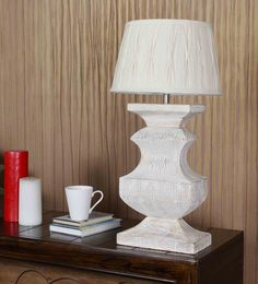 The Light Store Off White Cotton Table Lamp - 1588308