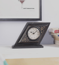 The Mikky Shoppe Station Black Mango Wood & MDF Table Clock