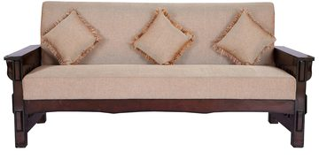 Three Seater Sofa In Brown Colour By Karigar